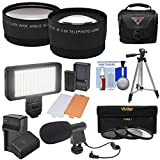 Essentials Bundle for Panasonic V770, VX870, VX981, WX970, & WXF991 Camcorder with Tele/Wide Lenses + LED + Mic + Battery/Charger + Case + Tripod + Filters Kit