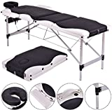 K&A Company Massage Table With Case Carry Portable Bed Facial Spa Tattoo Fold Aluminum Black 72''L
