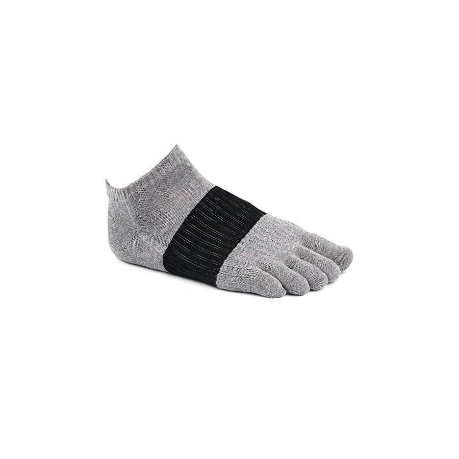 Toe Socks, PACKGOUT Five Finger Socks Athletic Running No Show Crew Socks for Men and Women, 6 Pairs Socks Men Pack Included Men's Shoe Size 7 11 Women's Shoe Size 8 12