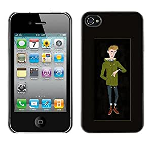 Plastic Shell Protective Case Cover || Apple iPhone 4 / 4S || Man Hipster Winter Time Sketch @XPTECH
