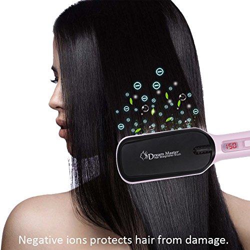 Hair Straightener Brush Ceramic Heating LCD Digital Hair Straightening Brush useing preview