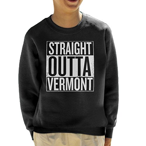 White Text Straight Outta Vermont US States Kid's Sweatshirt