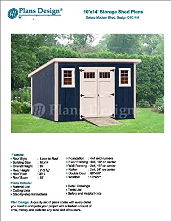 Modern Roof Style 10 X 14 Deluxe Shed Plans Design D1014m Material List And Step By Step Included Woodworking Project Plans Amazon Com