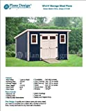 Modern Roof Style 10' x 14' Deluxe Shed Plans, Design #D1014M, Material List and Step By Step Included