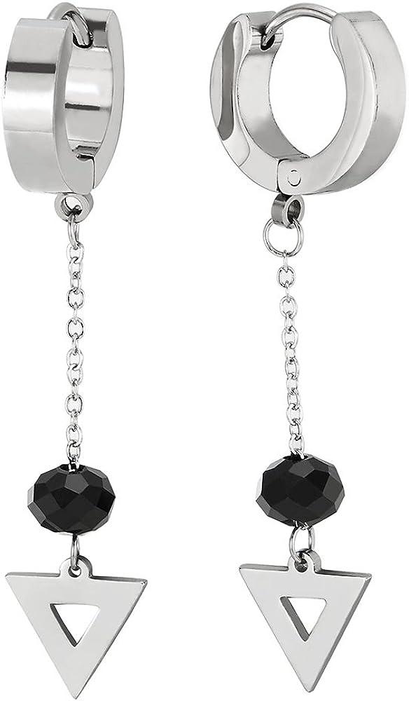 2 Pendientes del Aro con Largo Cadena Colgantes Negro Perla y Triángulo, Pendientes para Mujer, Acero Inoxidable