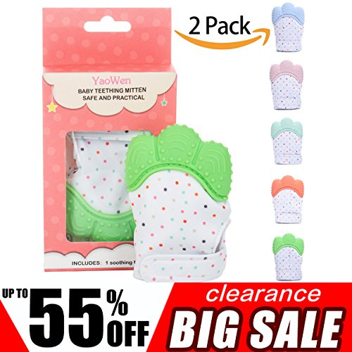 2Pack Baby Teething Mitten Set for Babies Self-Soothing Pain Relif Teething Glove Safe Food Grade Teething Mitt for 3-12 Months Boys (Green Color) Yaowen by YaoWen