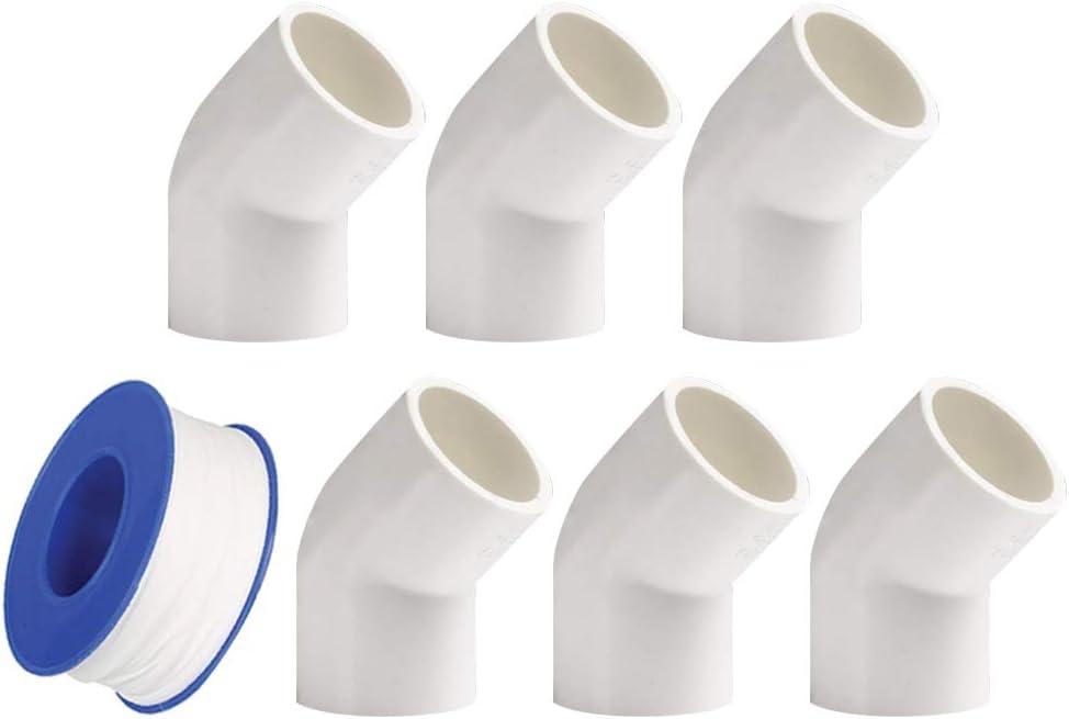 Cinta de plomer/ía YOFASEN Kit de Accesorios de Tubo PVC de Plomer/ía de 6 Piezas Conector de Tuber/ía de Conectores de Codo de 45 Grados para Tuber/ía de Agua 3 tama/ños