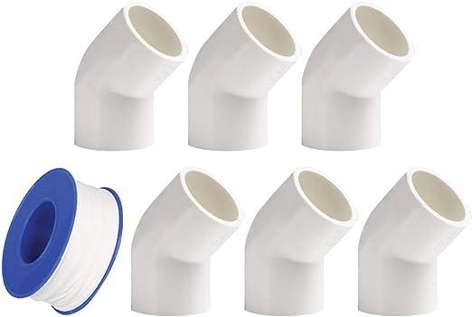 Conectores de Codo de 90 Grados para Tuber/ía de Agua Cinta de plomer/ía YOFASEN Kit de Accesorios de Tubo PVC de Plomer/ía de 6 Piezas Conector de Tuber/ía de 25mm