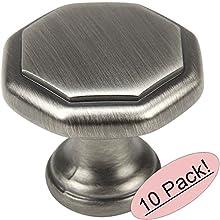 "Cosmas 5181AS Antique Silver Cabinet Hardware Octagon Knob - 1-1/4"" Diameter - 10 Pack"