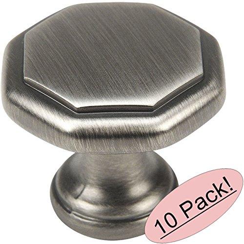 "10 Pack - Cosmas 5181AS Antique Silver Cabinet Hardware Octagon Knob - 1-1/4"" Diameter"