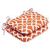 Pillow Perfect Outdoor New Geo Rounded Corners Seat Cushion, Orange, Set of 2 Review