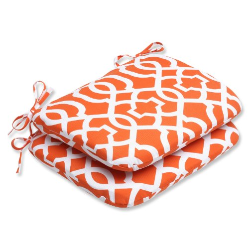 Pillow Perfect Outdoor New Geo Rounded Corners Seat Cushion, Orange, Set of 2