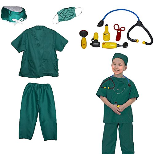 Toy Cubby Kids Pretend Realistic Doctor Nurse Costume and Doctor Play Set Tools -