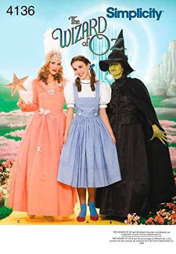 Simplicity 4136 'Wizard of Oz' Dorothy, Wicked Witch and Glinda Good Witch Halloween Costume Sewing Pattern for Women, Sizes 14-22 -