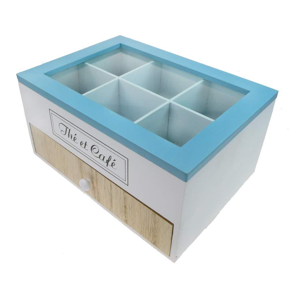 Sponsi Caja De T/é Suitable Cofre De Almacenamiento De T/é De Madera Colecci/ón 9 Compartimentos T/é Almacenamiento De Caf/é Bolsitas De T/é Organizador Contenedor