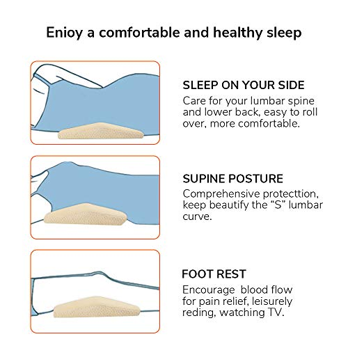 Acksonse Lumbar Pillow for Sleeping Memory Foam Back Pain Support Lower Back Cushion in Bed Waist Support Cushion Pregnant Woman Hip Knee Spine Alignment Sciatic Nerve Pain Relief