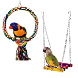 Rypet Bird Rope Swing, Wooden Budgie Toys Pet Bird Cage Hammock Swing Hanging Toy for Small Parakeets Cockatiels, Conures, Macaws, Parrots, Love Birds, Finches (2 Pack)