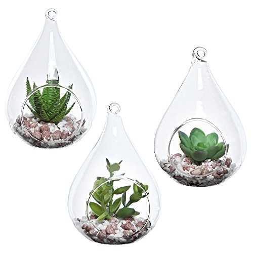 MyGift Set of 3 Teardrop Design Hanging Glass Faux Succulent Container Vases/Artificial Plant Terrarium Pots (Hanging Glass Vases Teardrop)