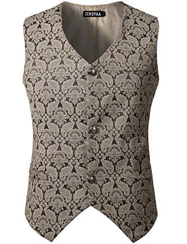 ZEROYAA Mens Single Breasted Vest Gothic Steampunk Victorian Brocade Waistcoat ZLSV10 Coffee XXX Large ()