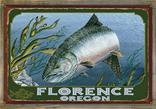 Northwest Art Mall Florence Oregon King Salmon Rustic Metal Print on Reclaimed Barn Wood by Dave Bartholet (24
