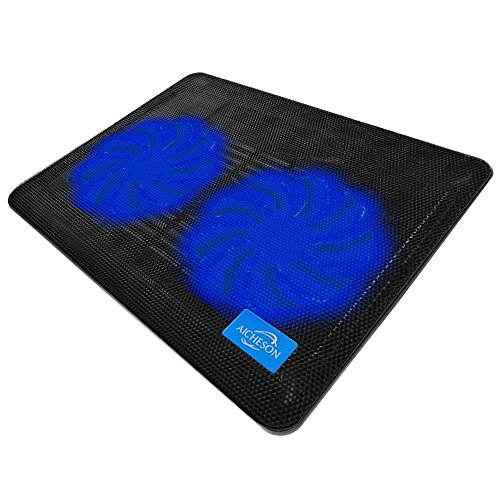AICHESON Laptop Cooling Pad, Ultra Slim Laptop Cooler Lightweight Chill Portable Notebook Mat with 2 Heavy Duty Fans USB Powered with LED Lights for 10