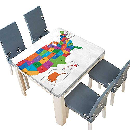 PINAFORE Table in Washable Polyeste Colorful USA Map