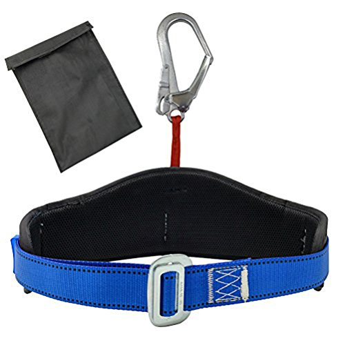 Aoneky Body Belt with Safety Lanyard and Hook - with Hip Pad and Side D-Ring, Fall Arrest Safety Harnesses by Aoneky