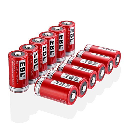 EBL 16340 RCR123A 3.7V 750mAh Li-ion Rechargeable Batteries, 12 Packs