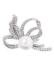 Vintage Rhinestone Crystal Wedding Bridal Flower Pearl Brooch Pin