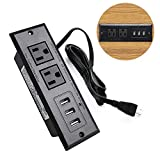 Conference Recessed Power Strip Socket with Surge Protector 9.8ft Desktop Power Cord -2-Outlet Surge Protector with 3 USB Ports