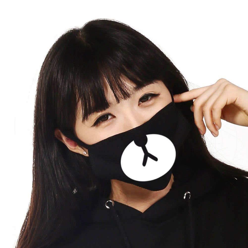 Mask Black Cute Bear Men Women Cycling Anti-Dust Cotton Mouth Face Mask Bear Mouth-muffle
