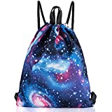 VanFn Drawstring Bags, Creative Design Gymsack, Unisex Sackpack, Students Drawstring Backpack, Sport's Equipment Bag, Casual College Luggage & Travel Bags, School Backpacks for Teen by (B - Galaxy)