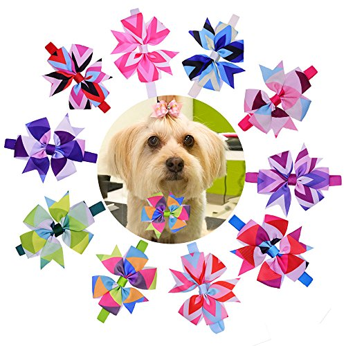 Fancy Dog Bows (10pcs/pack Valentine's Day Dog Bow Ties pinwheel Bowknot Patterns Cat Dog Bowties Collar Holidays Dog Ties Dog Grooming Accessories)