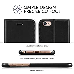 iPhone 6s/6 Case, iPhone 6s/6 Wallet Case, TUCCH Premium PU Leather Flip Folio Wallet Case with Card Slot, Cash Clip, Stand Holder and Magnetic Closure, Black