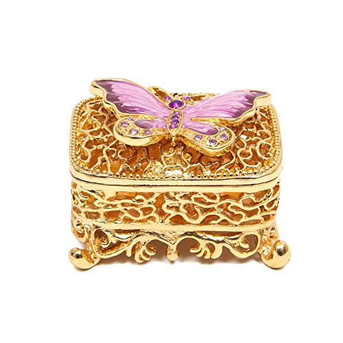QIFU Hand Painted Enameled Butterfly Decorative Hinged Jewelry Trinket Box Unique Gift For Home (Enameled Box)
