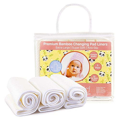 Baby Diaper Changing Pad Liners: [3 Pack] Large Waterproof Washable Table Liner by BabyLina