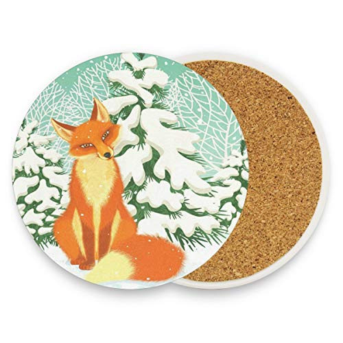 Red Fox Winter Coasters, Protect Your Furniture From Stains,Coffee, Drink Coasters Funny Housewarming Gift,Round Cup Mat Pad For Home, Kitchen Or Bar 1 Piece