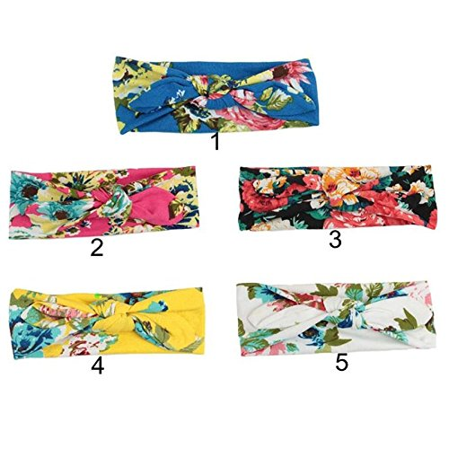 Corcrest(TM)1 New Baby Girls Headband Print Floral Butterfly Bow Hair Bands Flower Turban Girls Hair Accessories Toddler Knot Headbands