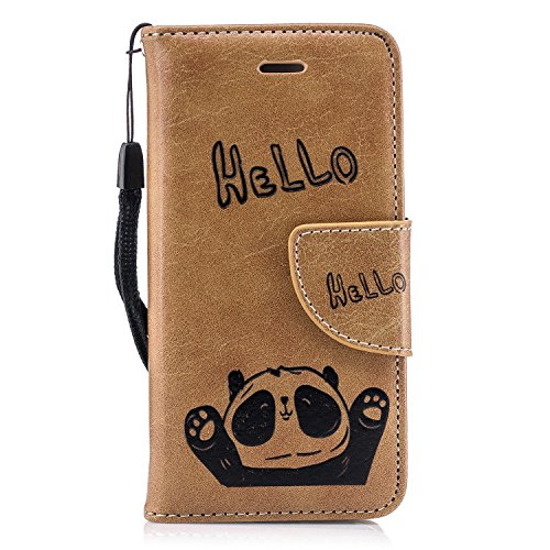 Panda Flip Leather Soft [Slim Fit] with Stand/Wallet/Card Slots/360 Full Body Protection for Apple iPhone 5/5S/SE (Brown, iPhone 5s -