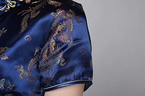 ACVIP Corte Cheongsam Drago Donna a Qipao Cinese Disegno Fenice Blu Maniche e Scuro Broccato rqr46