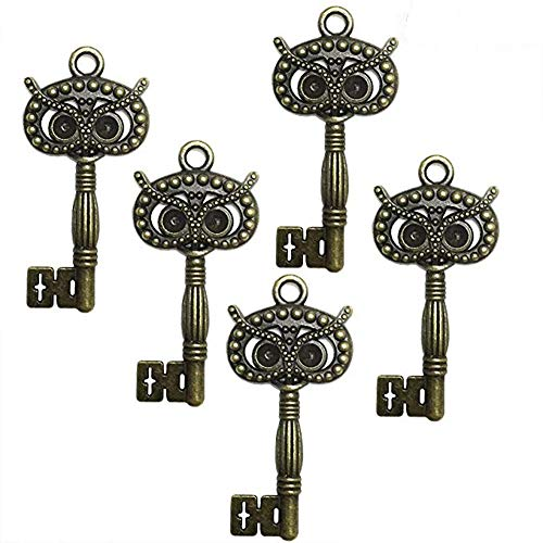 Focushop Set of 20 Antique Vintage Bronze Skeleton Keys DIY Bag Necklace Costumes Bracelet Pendant Making Accessories (Style 2) -