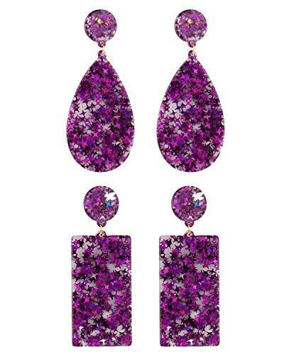 (MSCOLOG Purple Dangle Earrings, Acrylic Tortoise Shell Earring Purple Statement Stud Earrings for Women Girls)