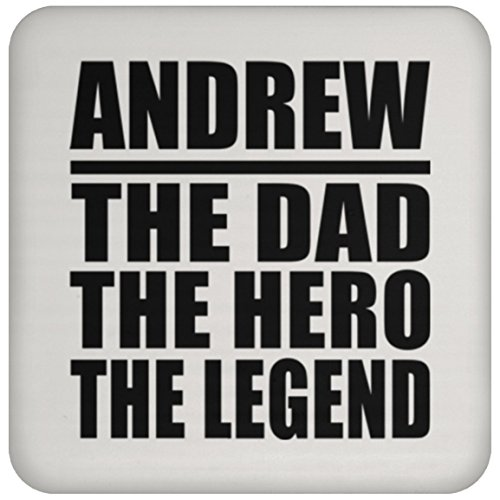 - Andrew The Dad The Hero The Legend - Drink Coaster Non-Slip Non-Skid Cork Mat Back-ing - Gift for Father Dad from Daughter Son Kid Wife Mother's Father's Day Birthday Anniversary