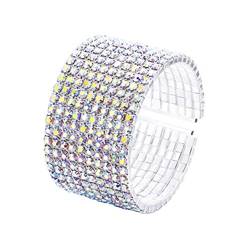 (EleQueen Women's Silver-Tone 10-Row Austian Crystal Open End Wide Elegant Party Cuff Bangle Bracelet Multicolor )