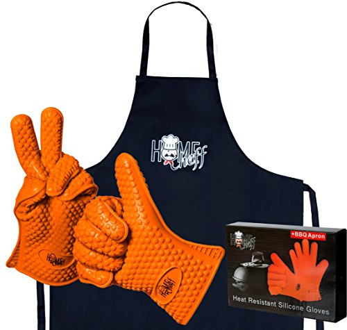 - Superior Oven Mitts 2 Pieces with Apron - HomeCheff - Not XXL - Cooking - BBQ - Grilling - Heat Resistant Gloves - Bonus Branded Protective Apron - Gift Box - Promo price