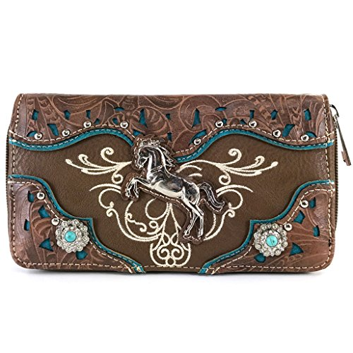 (Justin West Western Embroidery Horse Turquoise Concho Rhinestone Studded Shoulder Tote Handbag Purse Wallet (Brown Wallet))