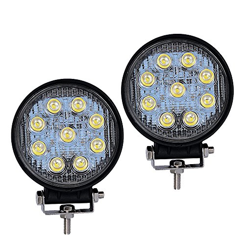 LED Light Bar YITAMOTOR 2PCS 4Inch 27W Round LED Work Light Pod Lights Spot Light Off Road Driving Light Fog Light Waterproof for Truck Car ATV SUV Jeep Boat 4WD ATV 12V , 2 Years Warranty - Round Housing
