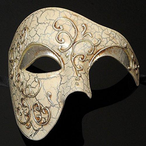 Mens Phantom of the Opera Masquerade Mask - Silver by MasqueradeParty