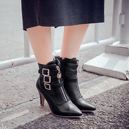 Damen schwarz spitze Stiefeletten Schnalle Agodor Zehe Reißverschluss Heels Winterschuhe mit High BUqvaC