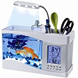 9milelake USB Desktop Aquarium Mini Fish Tank with Running Water LCD Time Clock Alarm Colorful LED Lamp Light Calendar Holds 1.5 Quart for Home Office Decor Picture